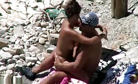 Mature couple doing it on the beach