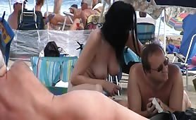 Nudist mature couple filmed by voyeur