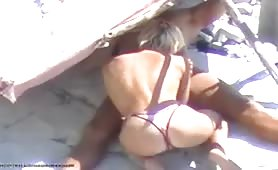 Bikini blonde blowjob in the shades