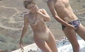 Naked women on the shore
